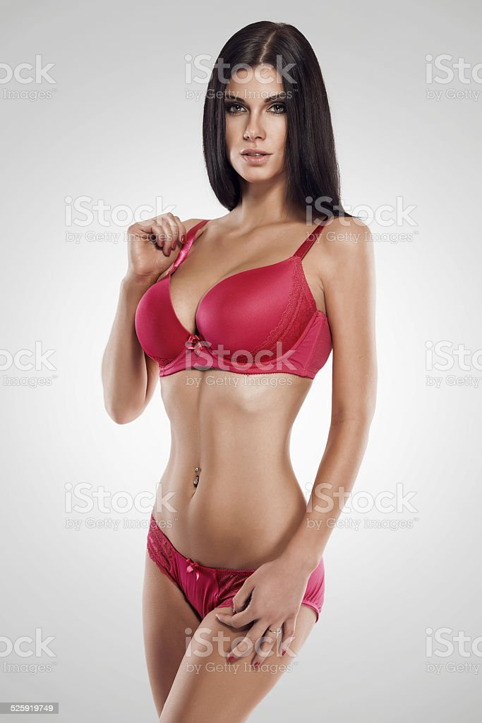 studio photo of posing sexy woman with nice lingerie stock photo