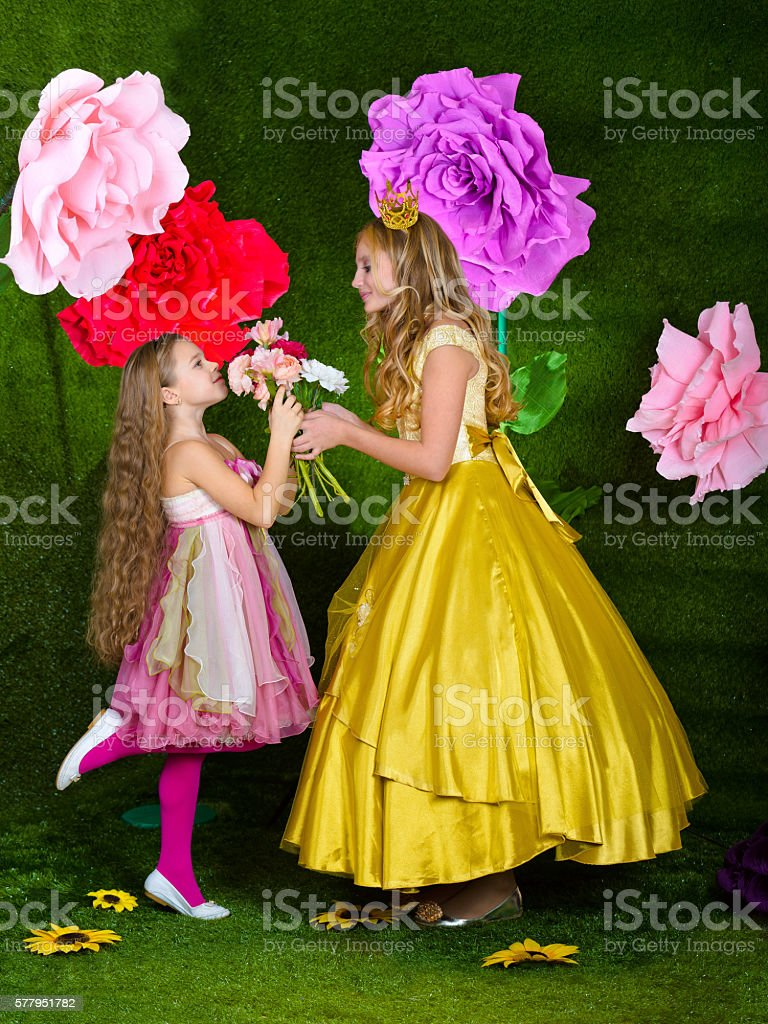Studio photo shoot fabulous Flower fairies. Princess with great flowers stock photo