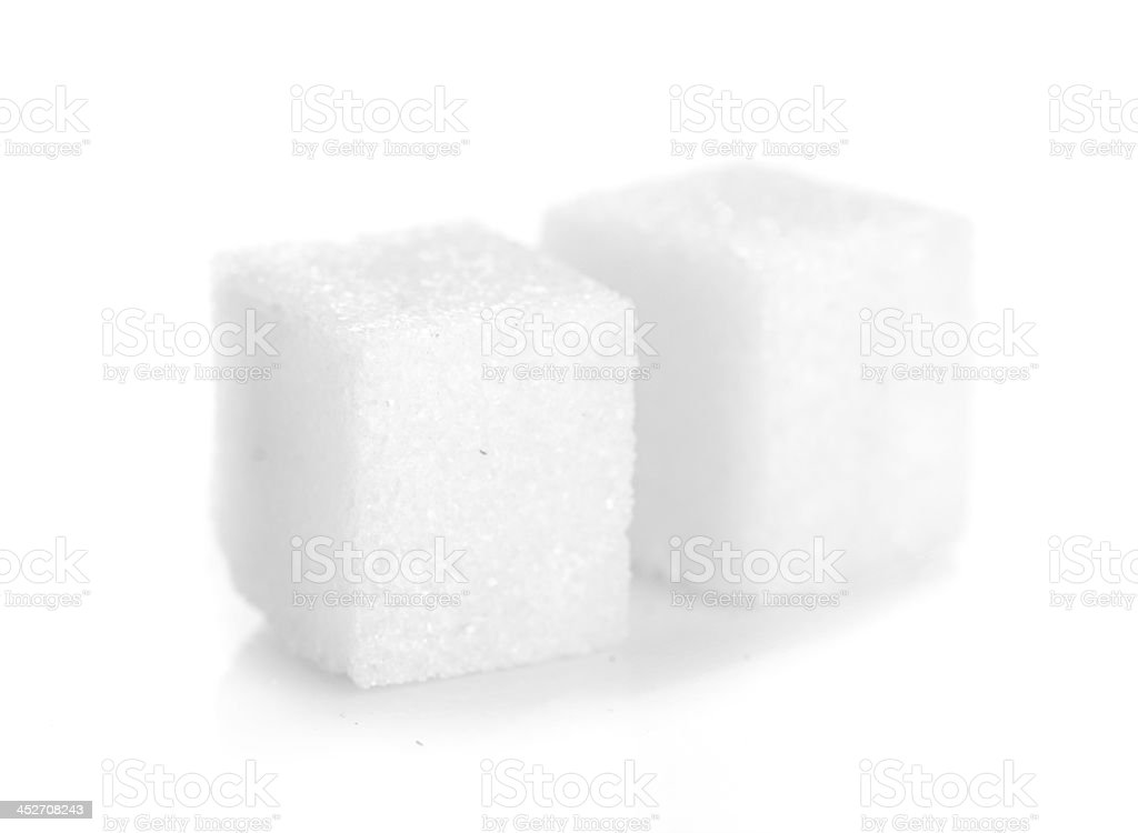 Studio photography of a lump sugar isolated on white background stock photo