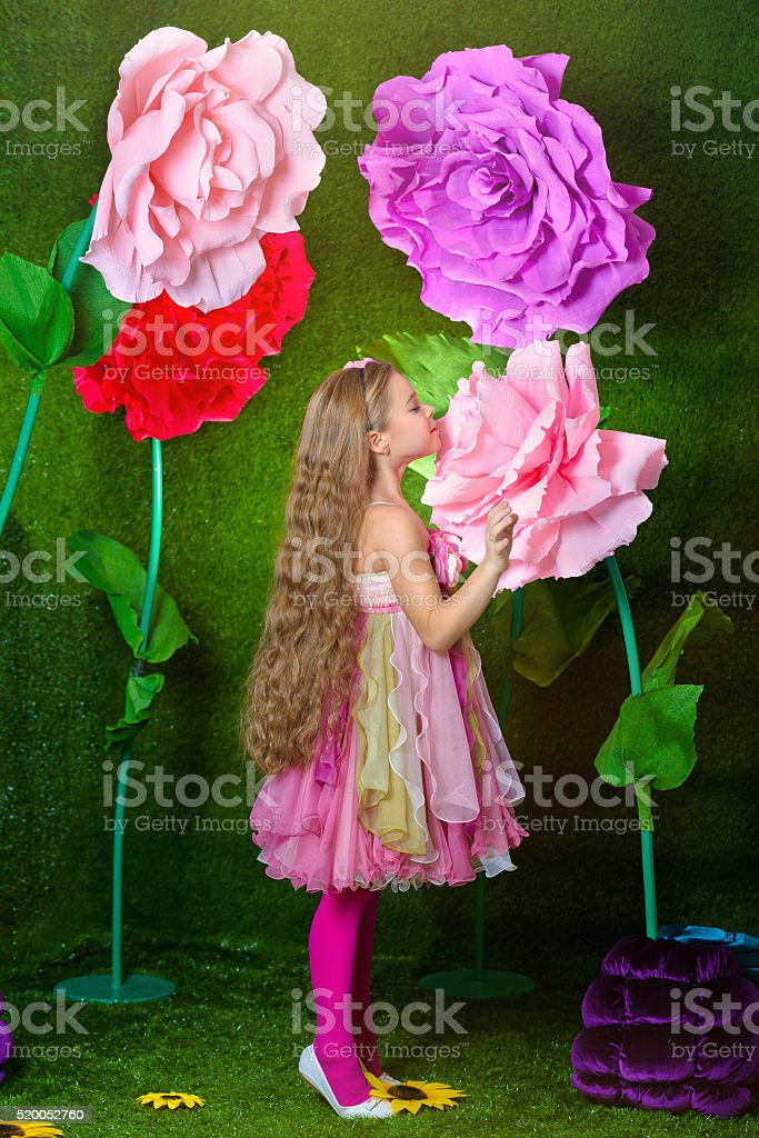 Studio photoshoot magic Flower fairies with great flowers stock photo