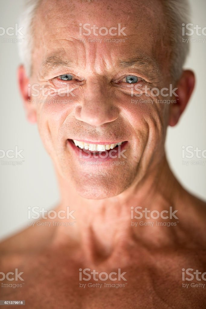 Studio portrait of a senior male stock photo