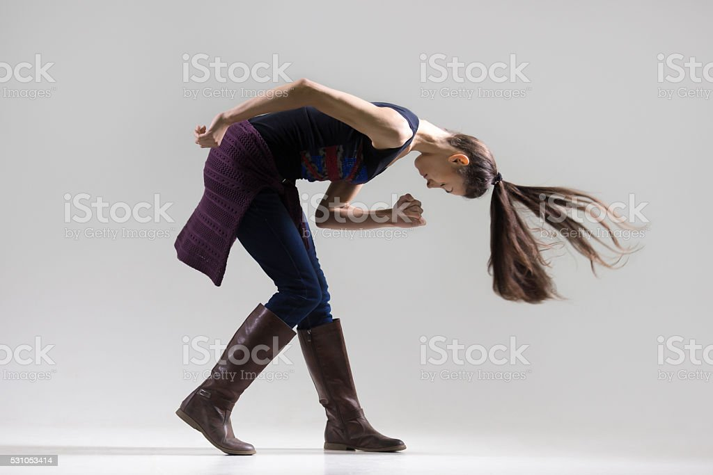 Studio portrait of dancing girl stock photo