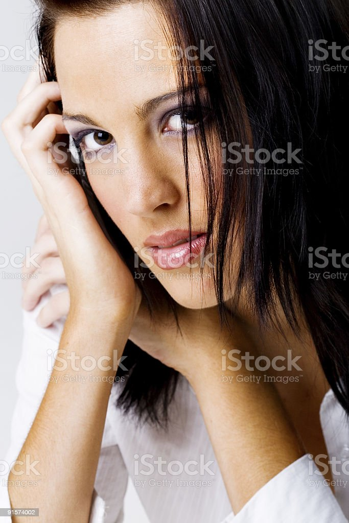 Studio portrait of female with black hair royalty-free stock photo