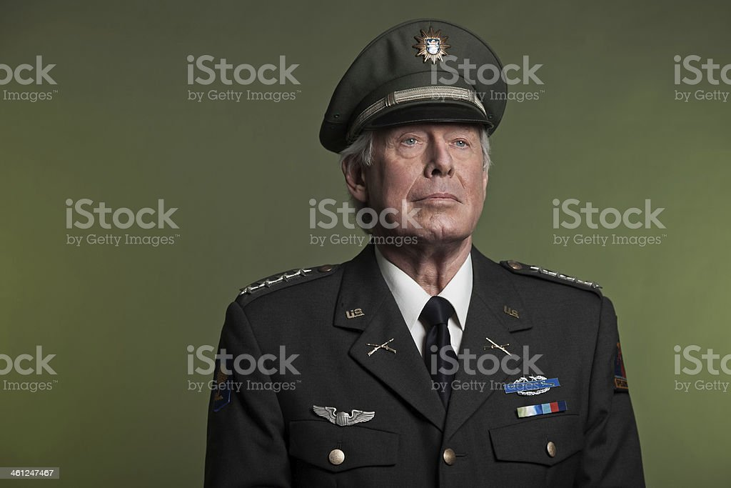 Studio portrait of military General in formal uniform stock photo