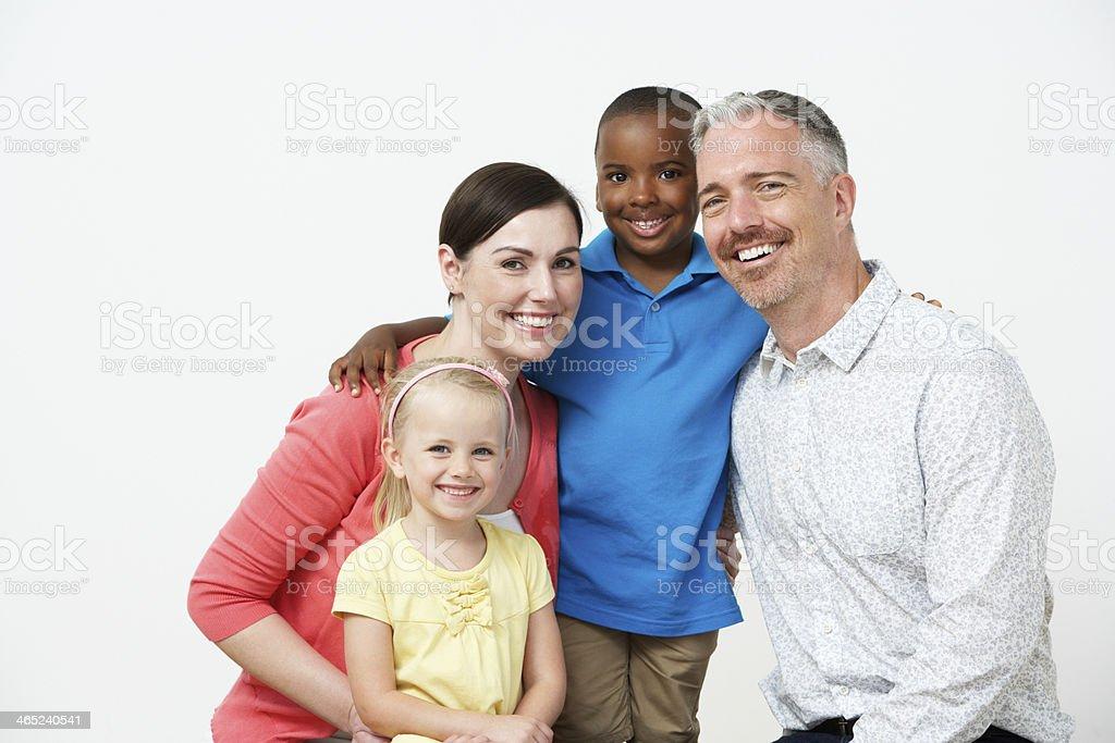 Studio Portrait Of Pre School Teachers With Pupils stock photo
