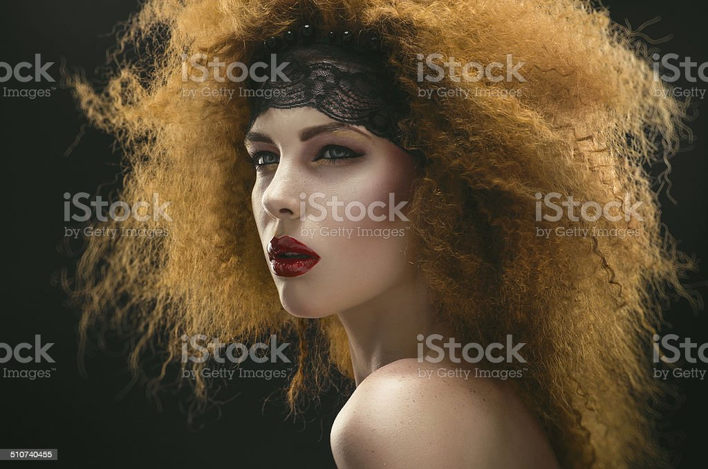 Studio portrait of redhaired woman royalty-free stock photo