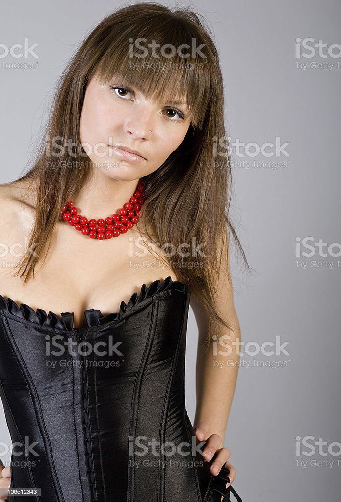 Studio portrait of the beautiful girl stock photo