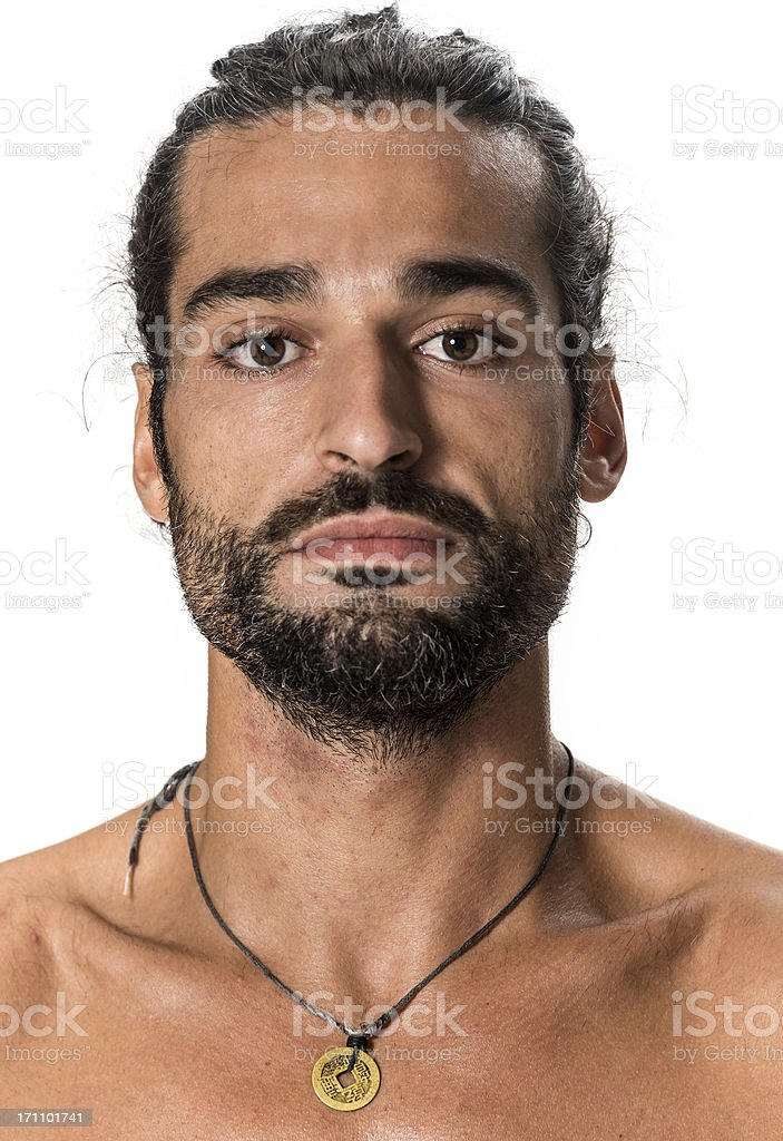 Studio profile photo of a serious looking mature man royalty-free stock photo