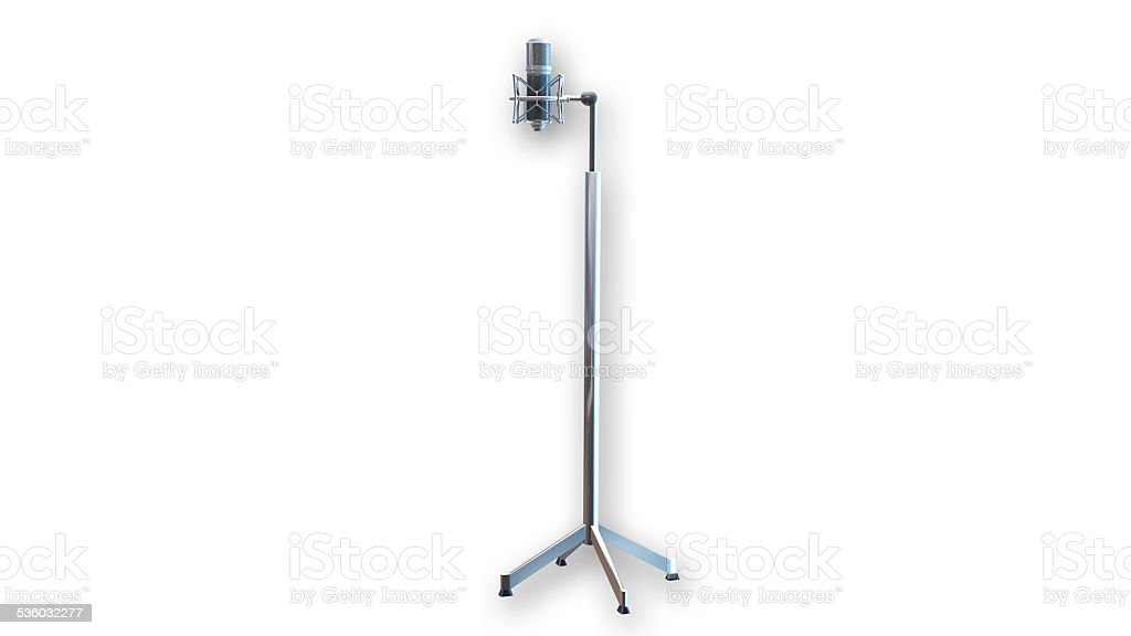 Studio Recording Microphone with stand on white background stock photo