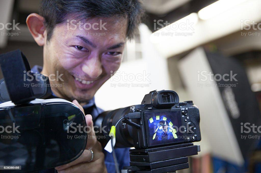 VR studio shooting stock photo