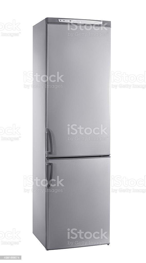 studio shot big stainless steel refrigerator isolated on white stock photo