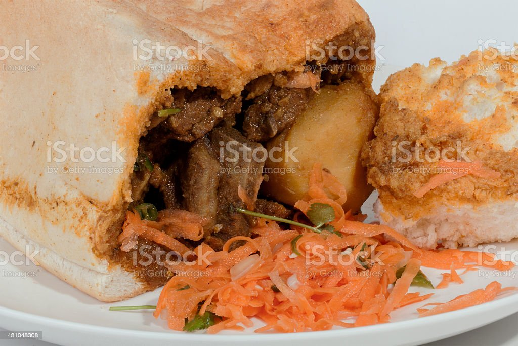 Studio Shot Close up of Traditional Bunny Chow stock photo