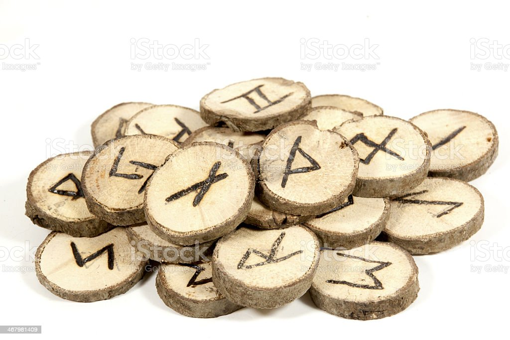 Studio Shot Collection of old Wooden Runes stock photo