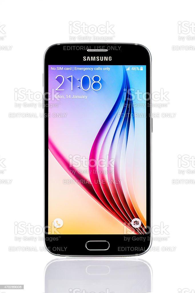 Studio shot of a black Samsung Galaxy S6 smartphone stock photo