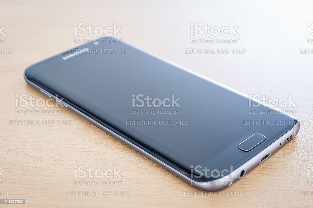 Studio shot of a black Samsung Galaxy S7 Edge stock photo