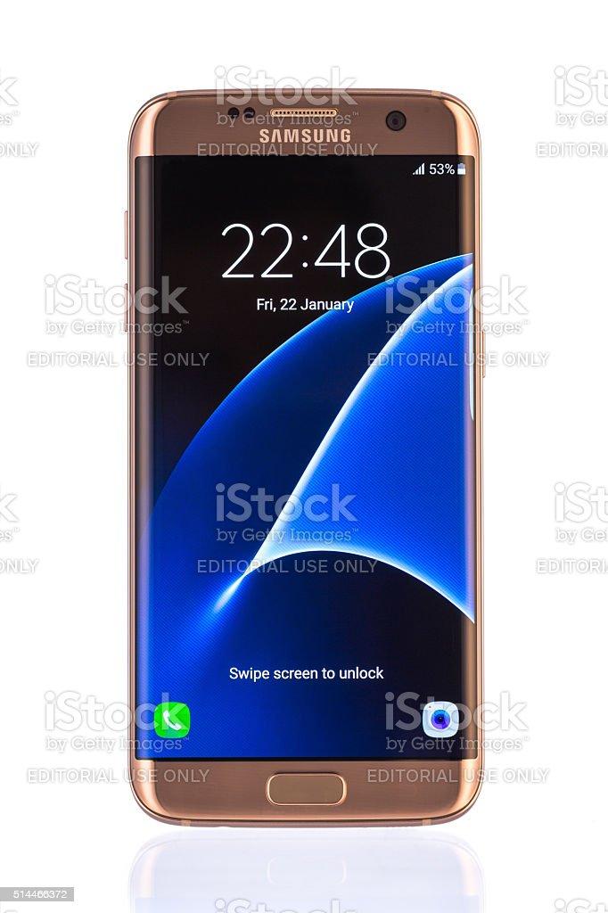 Studio shot of a gold Samsung Galaxy S7 Edge stock photo