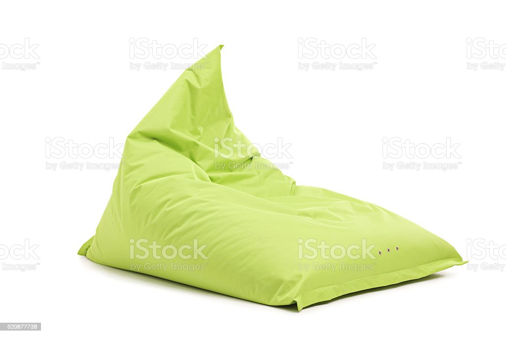 Studio shot of a green beanbag chair stock photo