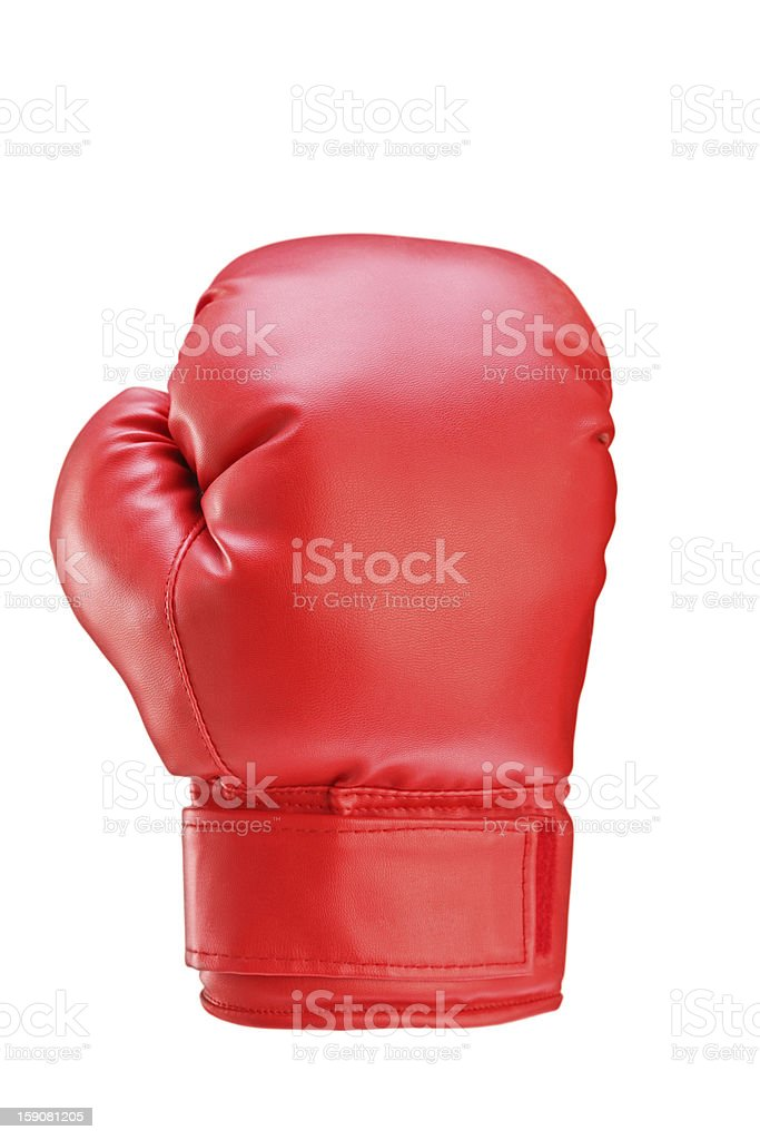 Studio shot of a red boxing glove stock photo