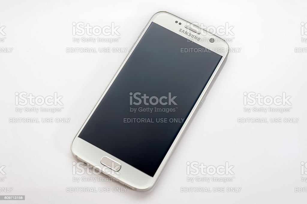 Studio shot of a silver Samsung Galaxy S7 smartphone stock photo