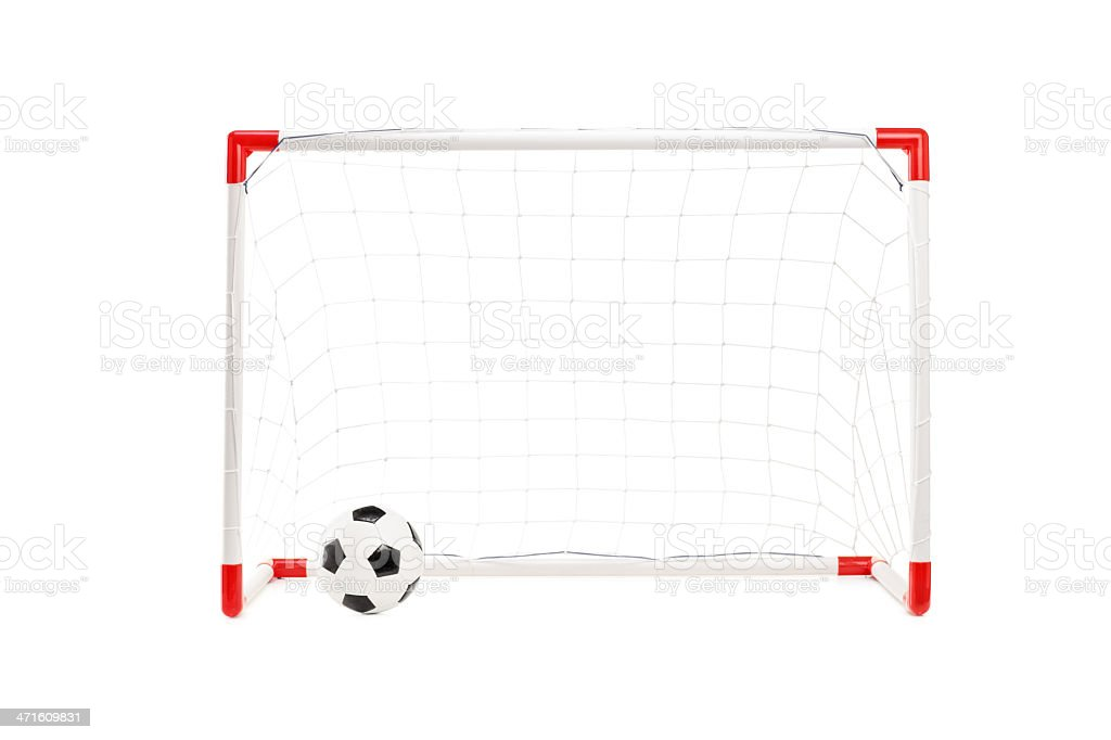 Studio shot of a soccer goal and ball royalty-free stock photo