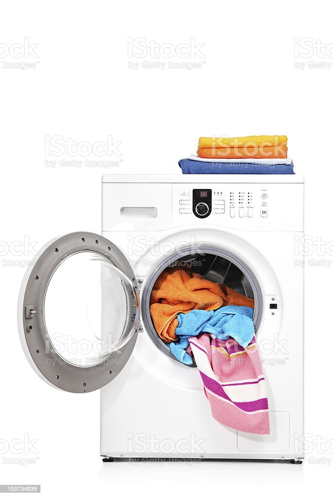 Studio shot of a washing machine stock photo