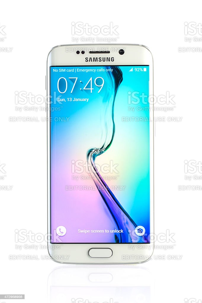 Studio shot of a white Samsung Galaxy S6 Edge smartphone stock photo