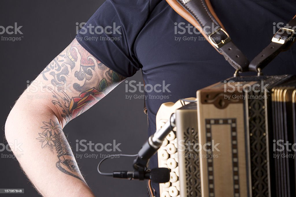 Studio shot of an accordion player stock photo