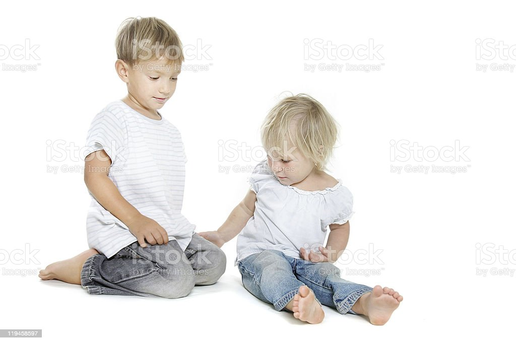 studio shot of brother and sister royalty-free stock photo