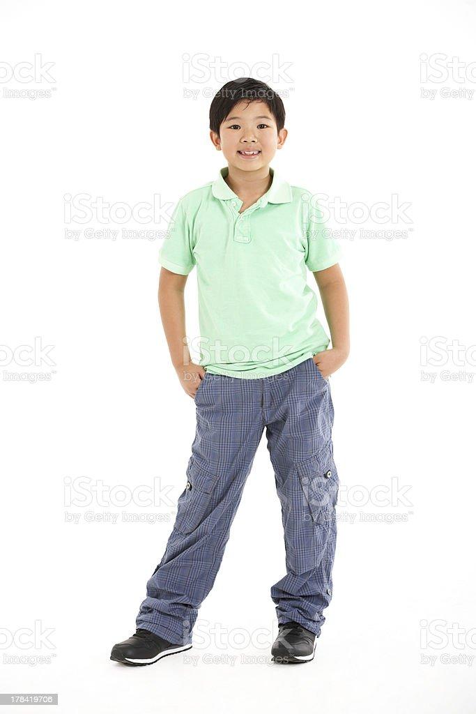 Studio Shot Of Chinese Boy stock photo