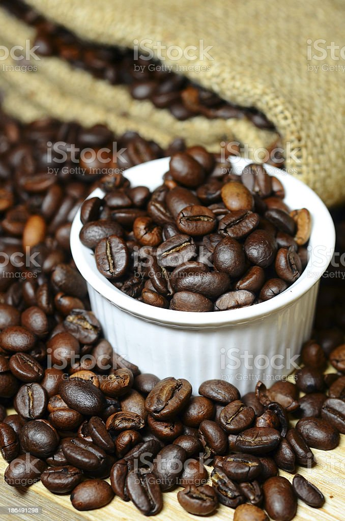 Studio Shot of Coffee Beans in a Bag royalty-free stock photo
