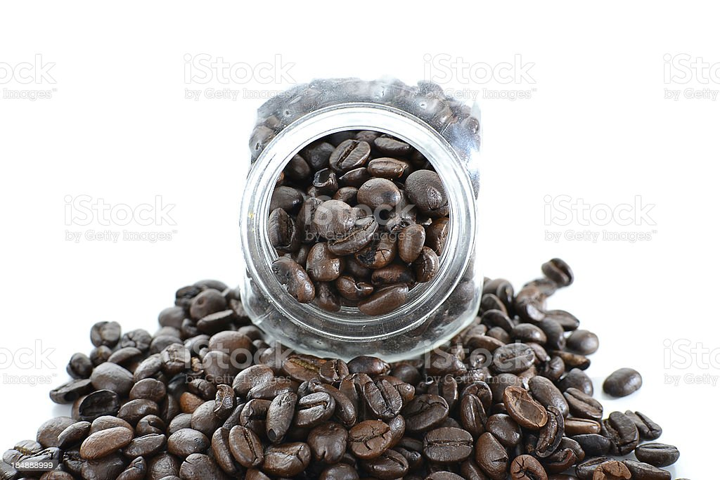 Studio Shot of Coffee Beans in a bottle royalty-free stock photo