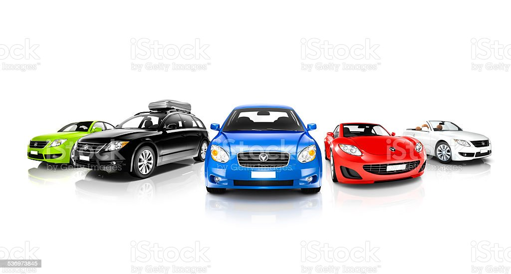 Studio Shot of Colorful Generic Cars stock photo