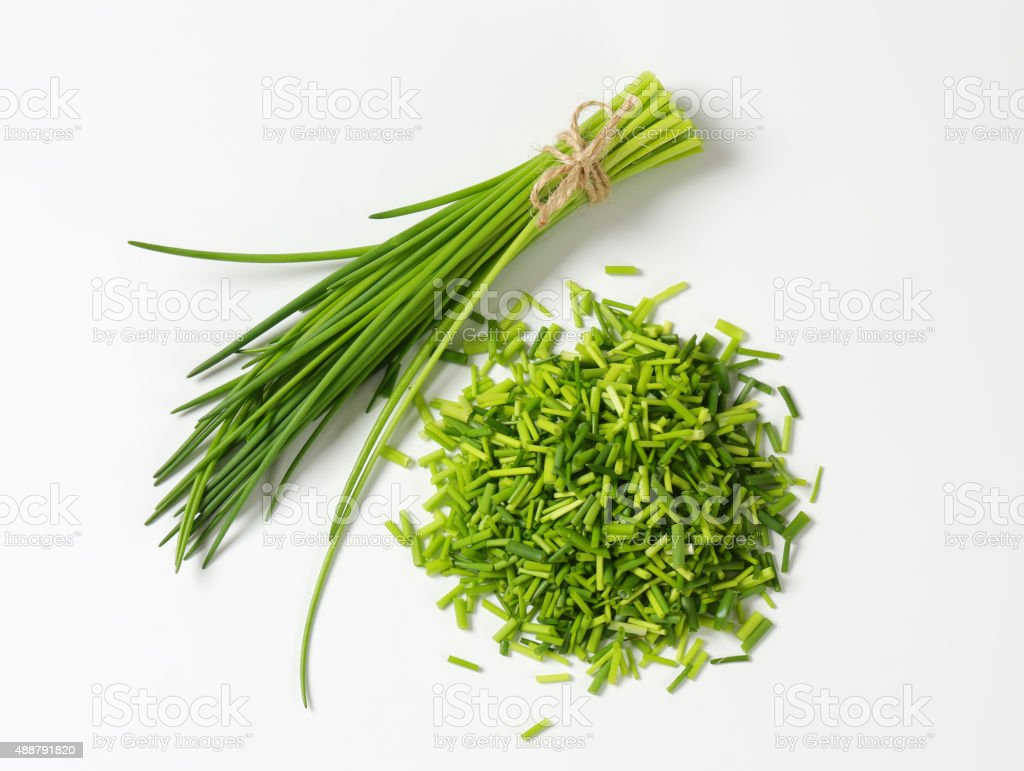 Studio shot of fresh chives stock photo