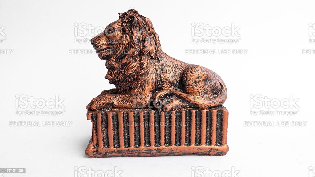 Studio shot of HSBC lion coin box or piggy bank stock photo