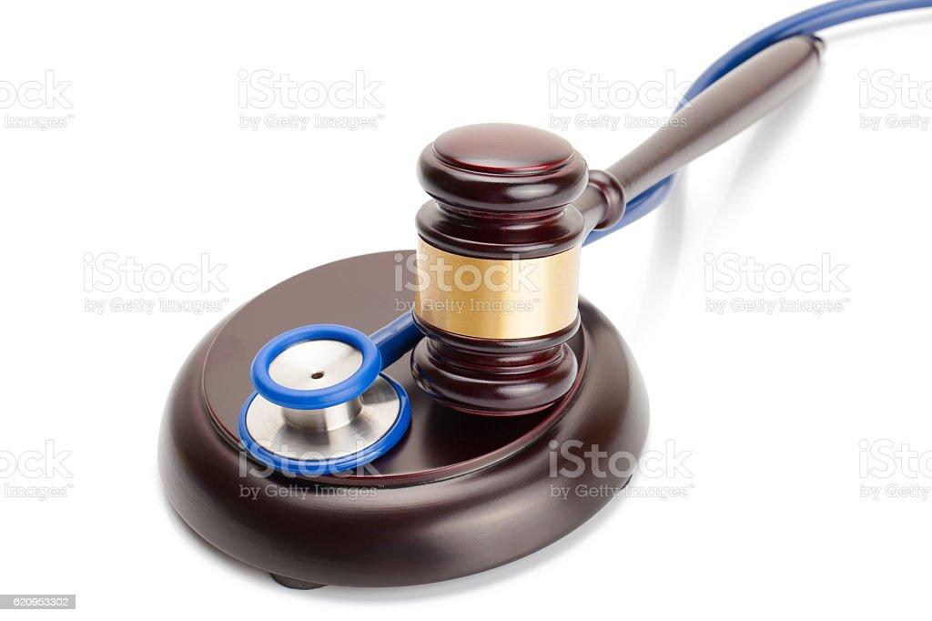 Studio shot of judge gavel and stethoscope stock photo