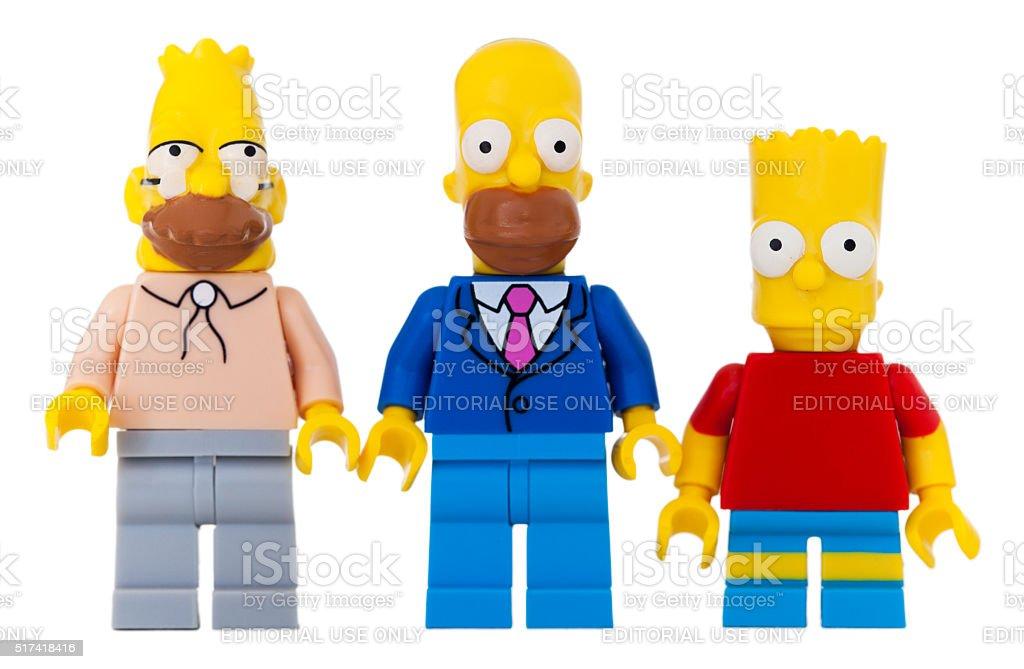 Studio shot of Lego Mini Figures, Abe, Homer, Bart Simpson. stock photo