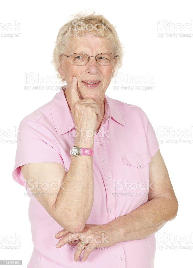 Studio shot of senior woman on white background. royalty-free stock photo