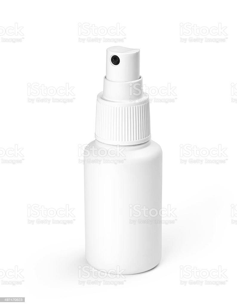 Studio shot of white spray plastic Bottle isolated on white background stock photo