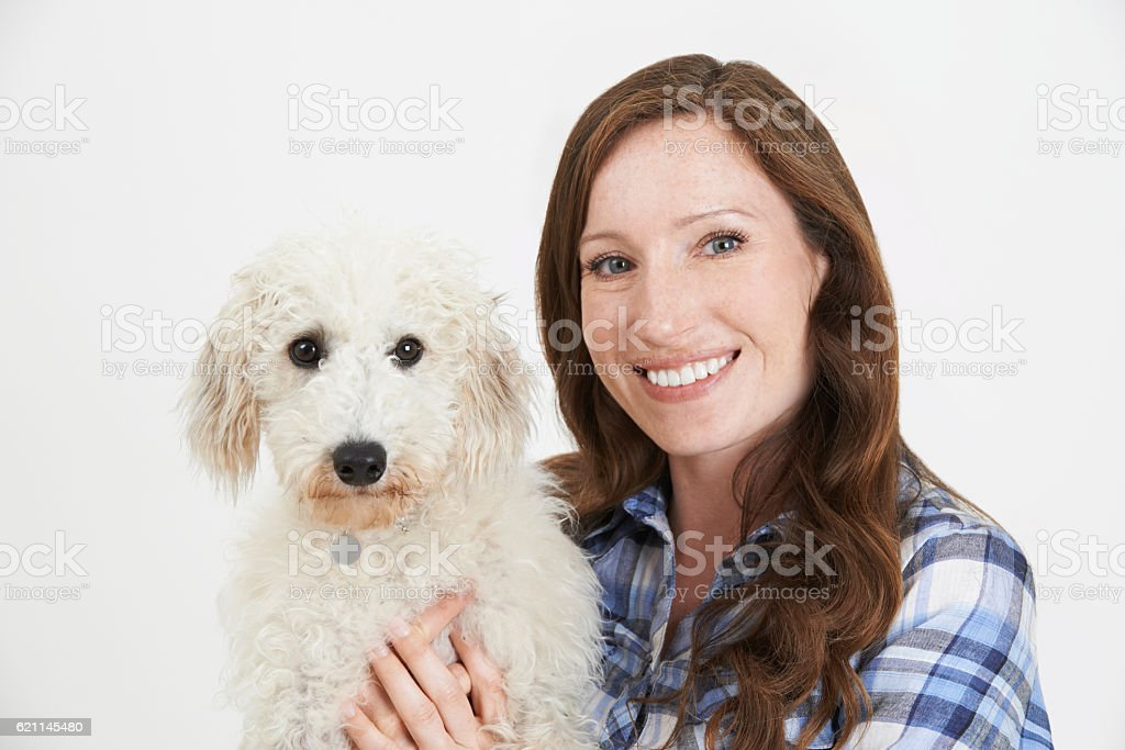 Studio Shot Of Woman With Pet Lurcher Dog stock photo