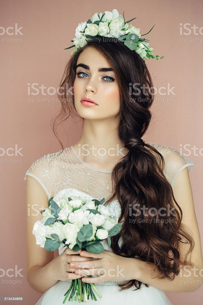 Studio shot of young beautiful bride stock photo