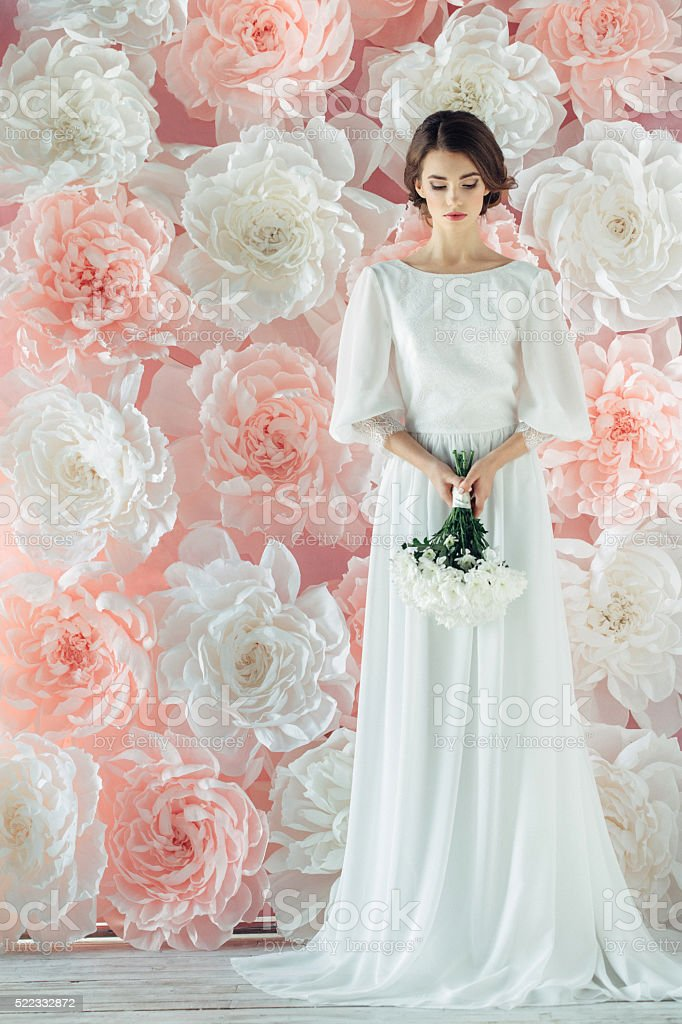 Studio shot of young beautiful bride stock photo