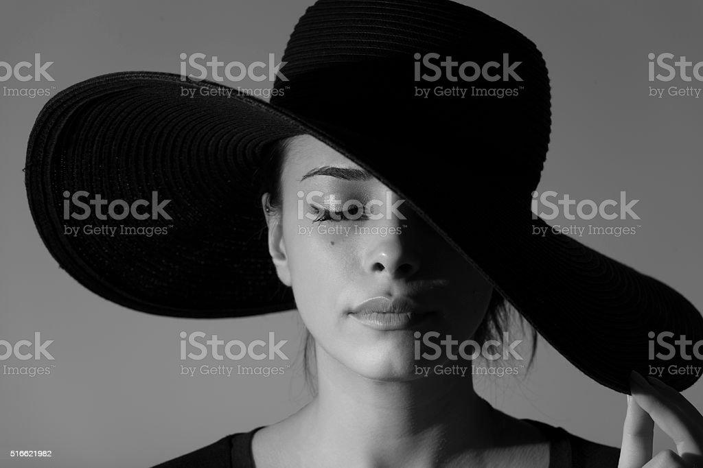 Studio shot of young beautiful woman Black &White stock photo