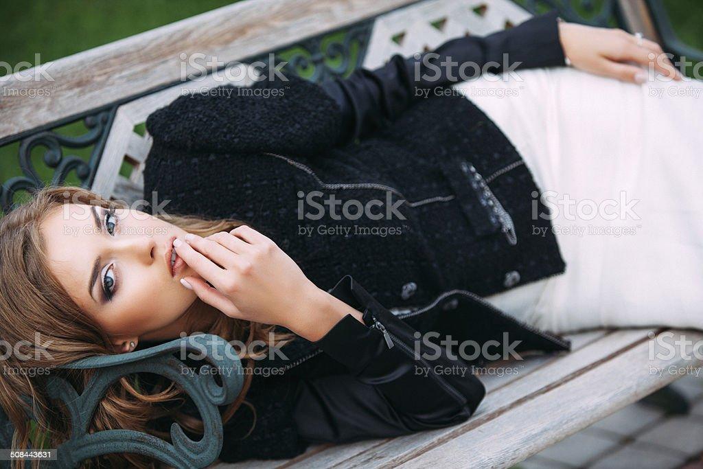 Studio shot of young beautiful woman royalty-free stock photo