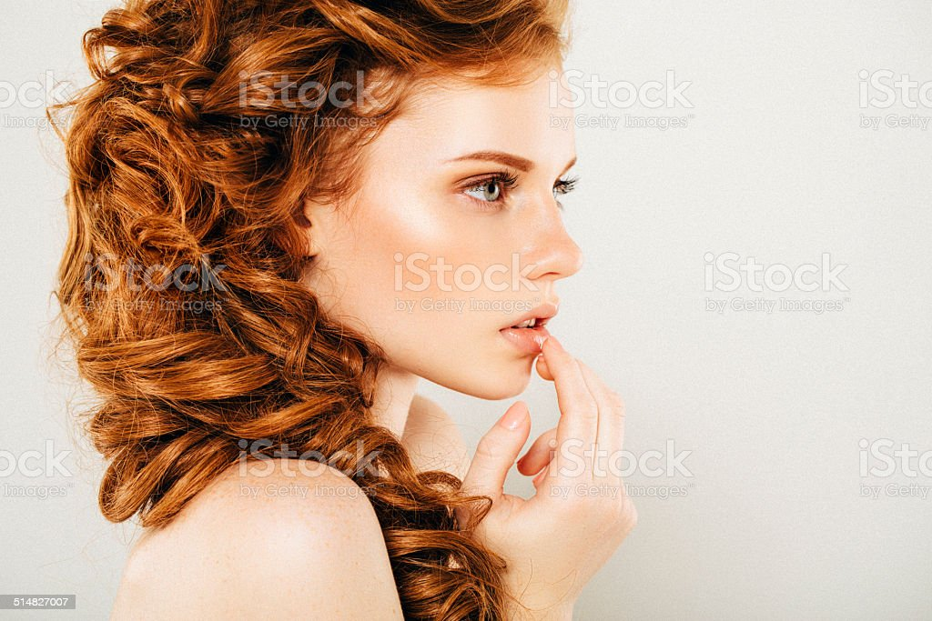 Studio shot of young beautiful woman royalty-free stock photo