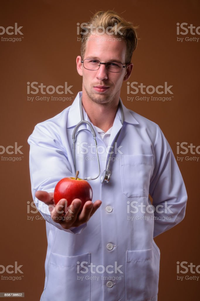blonde man is punishing the hot doctor wearing glasses  77994