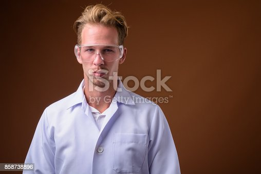 blonde man is punishing the hot doctor wearing glasses  78068