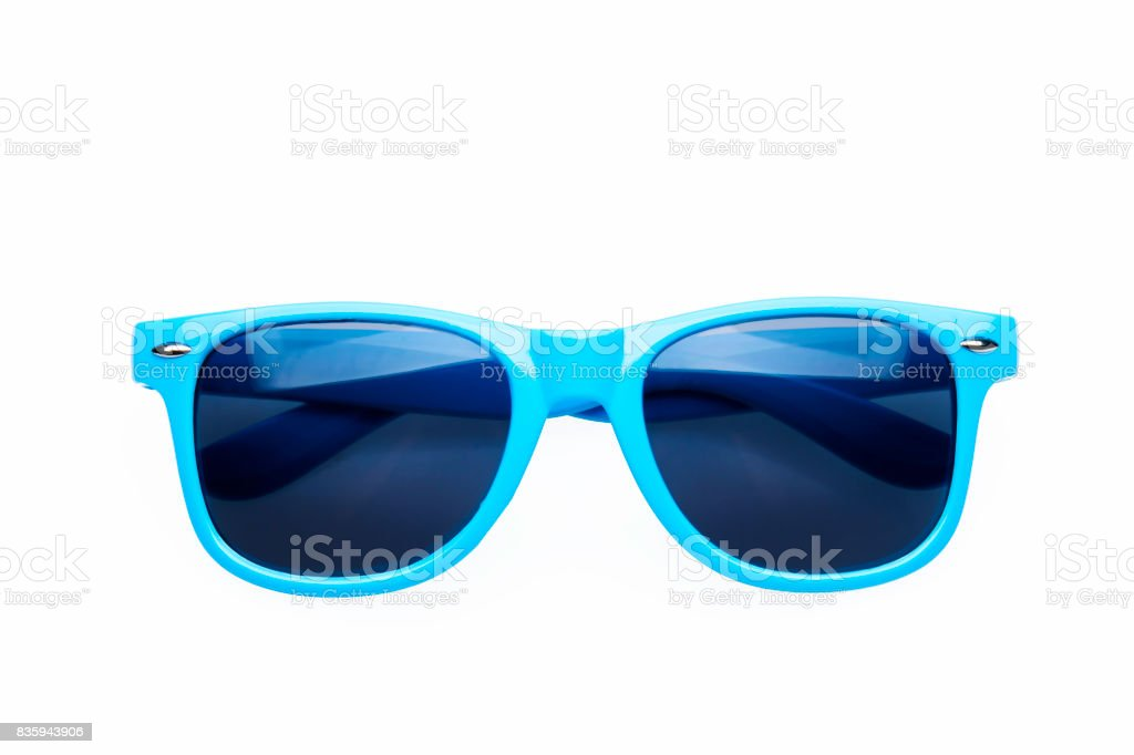 Studio shot on white background: blue sunglasses stock photo