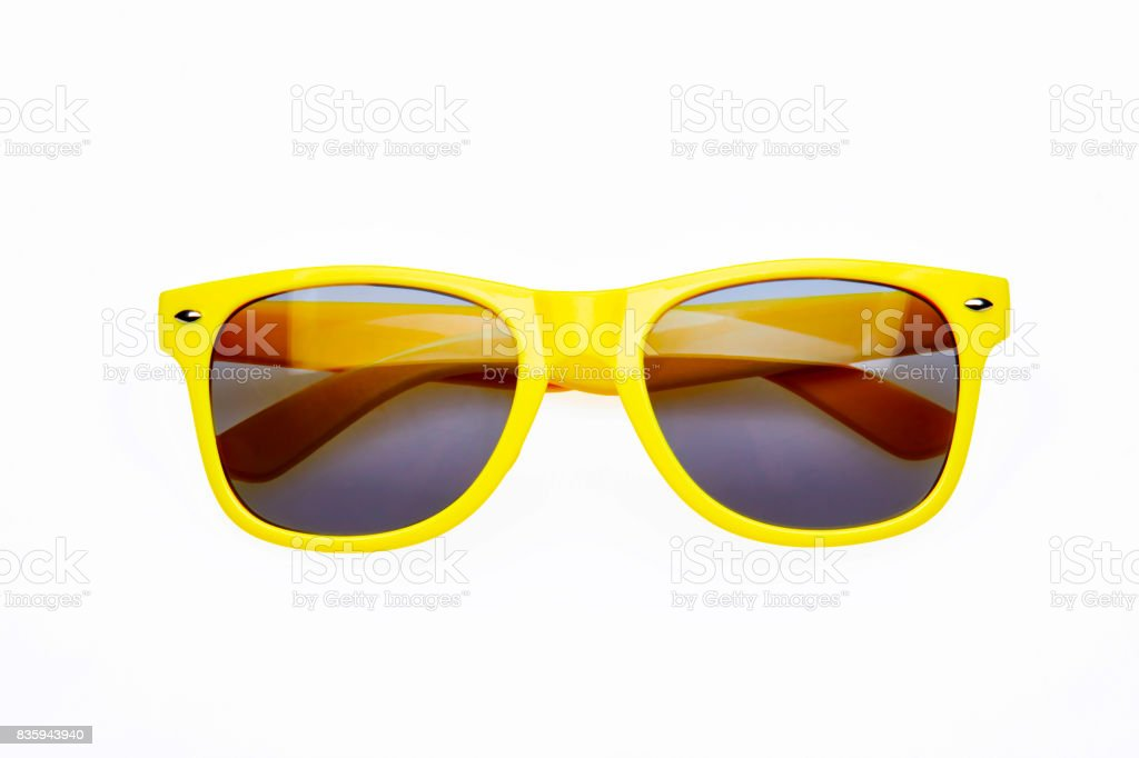 Studio shot on white background: yellow sunglasses stock photo