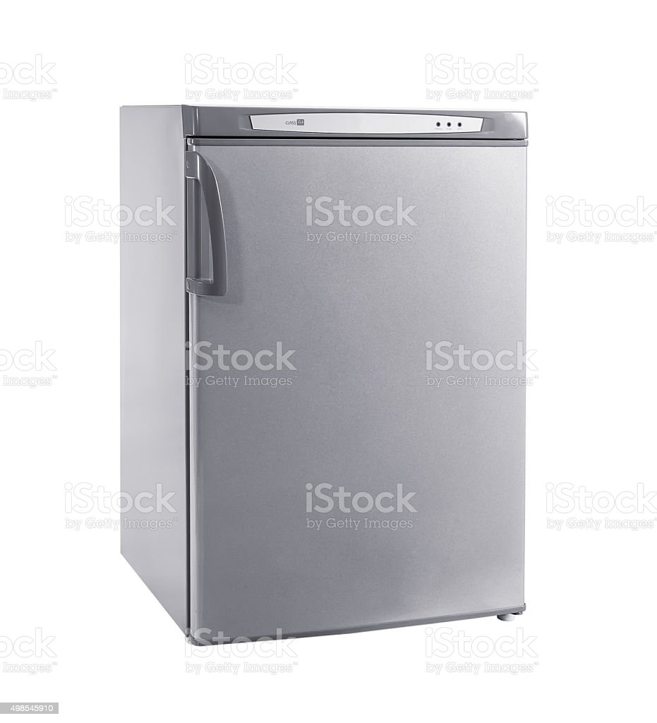 studio shot small stainless steel refrigerator isolated on white stock photo