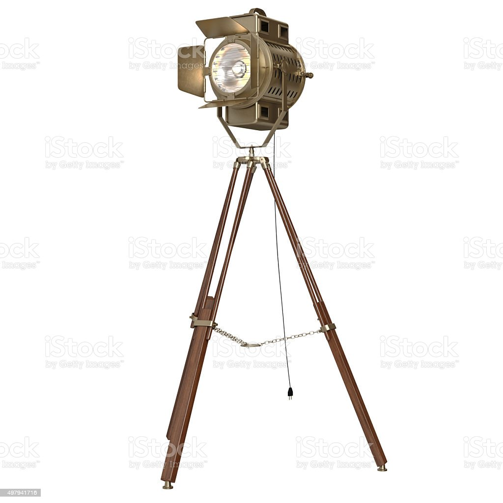 studio spotlight floor lamp wooden tripod royaltyfree stock photo - Spotlight Floor Lamp